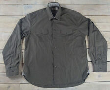 ZARA Man Young Division Long Sleeve Button Down Roll Up Army Green Shirt Size XL