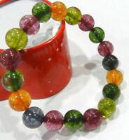 Handmade 8mm Multi-color Tourmaline Round Gemstone Beads Elastic Bracelet 7.5''