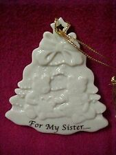Lenox China Porcelain Christmas Holiday Tree Ornament Lace For My Sister Bears