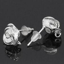10 Novità Pz Orecchini a Perno Fiore con Tappi di Gomma Argentato 18mm x 10mm