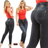 Laty Rose Colombian Jeans Levanta Cola Black Denim Butt Lifter Wide Waistband