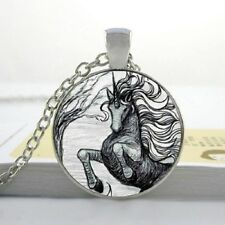 FAIRYTALE UNICORN ART NECKLACE / GIFT IDEA Fantasy Glass Pendant Chain Jewellery