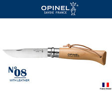 Opinel France No08 Tradition Beech Handle Folding Knife With Leather