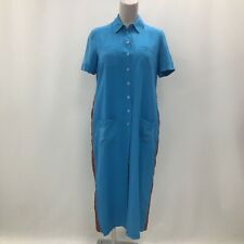 Jaeger Shirt Dress UK 14/16 Women Blue Silk Long Button Up Smart Casual 280563