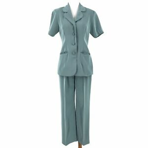 VINTAGE Handmade Tailored Suit Set Womens Small Green Collared Blazer Pants 70s