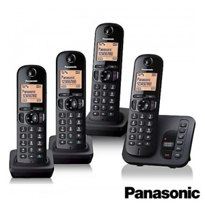 PANASONIC TGC224 CORDLESS QUAD PHONE WITH ANSWERING MACHINE BLACK KX-TGC224EB
