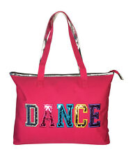 Girls Dance Tote Bag With Multicolored Dance Print Fuchsia