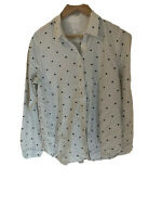 TRENERY Size 12 Polka Dot White Black Blouse Top Collared Shirt M Long Sleeve