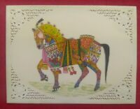 Hand Painted Miniature Horse Synthetic Ivory rare Finest Art exquisite Color