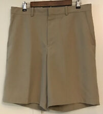 Walter Hagen Mens Khaki Chino Golf Shorts Sz. 34 Polyester Flat Front Casual EUC