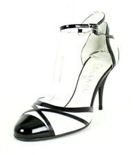 CHANEL Metallic White Leather & Black Patent Cap-Toe Heels Pumps 39