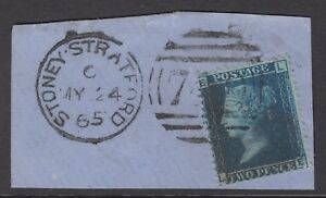 GB QV 2d Blue SG45 Plate 9 LE Very Good Used Stamp on a Piece Stoney Stratford