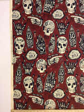 Dr Chillax Alexander Henry Skulls Surfer 100% Cotton Fabric 52 x 42 inch Piece