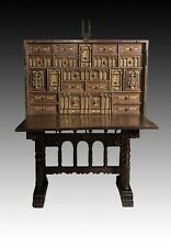 Spanish Desk 'Bargueño' Walnut 17th Century. Support 19th Century. Restored