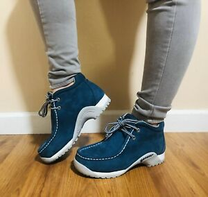 Buffalino Lady B-Boots Teal Leather Suede Chukka Shoes Women's Size 5.5 Hiking