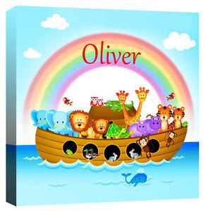 Personalised Noahs Ark, Childrens Name - Animal Nursery Canvas Art Print Picture