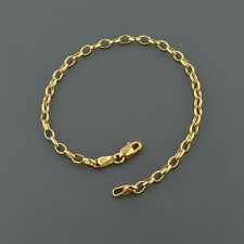 "10K YELLOW GOLD 3.2MM WIDE FLAT OVAL LINK 7"" INCH BRACELET FREE SHIPPING"