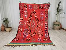 """Moroccan Handmade Vintage Carpet 5'x6'9"""" Geometric Red  Berber Tribal Wool Rug"""