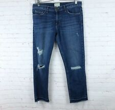 Current/Elliot Women's Size 28 The Cropped Straight Jeans Distressed Fray Hem