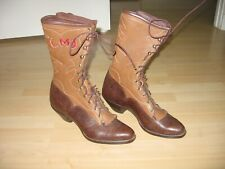 WOMEN'S  WHITE'S LEATHER WESTERN PACKER STYLE BOOTS, CUSTOM DETAILS  10 M