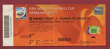 Orig.Ticket    Frauen WM DEUTSCHLAND 2011   DEUTSCHLAND - JAPAN  1/4 FINALE  !!
