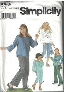 5655 Vintage Simplicity Sewing Pattern Girls Pants in two lengths Tops Bag OOP