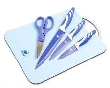 5er Set, 3 Küchen Messer, Schere, Schneidebrett, antibakteriell, Messerset, blau