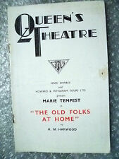 Theatre Programme- Marie Tempest in THE OLD FOLKS AT HOME by H M Harwood