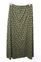Laura Ashley Leaf Corduroy Needlecord maxi Skirt Green Mix  casual Sz 10