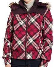 Hydraulic Down Bomber Jacket Womens Juniors Faux fur Pink Plaid S $120