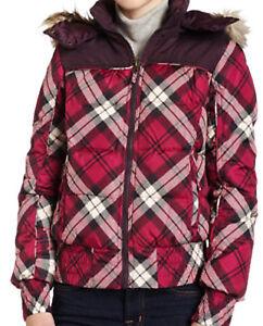 Hydraulic Down Bomber Jacket Womens Juniors Faux fur Pink Plaid S $120