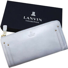 LANVIN Collection Japan Zip Around Cow Leather Long Wallet -Light Blue Grey-NWT