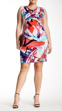 LONDON TIMES NEW PAINT SPLASH COWL NECK DRESS SIZE 16W MSRP $128