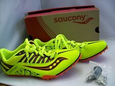 Saucony Spitfire Running Spikes Mens 9.5 Fluorescent Yellow w/Box Used twice