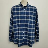 Ben Sherman Mens Button Down Shirt Large Blue Plaid Long Sleeve Cotton Blend