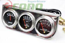 """Triple 2"""" Racing Auto Gauges Set Amp Meter, Wate 00006000 R Pressure, & Oil Pressure Guage"""