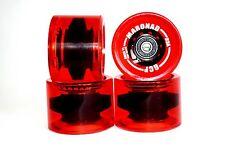 4 Stück Longboard Rollen Wheels im Rot 70x50mm 85A Inklusive ABEC 11 und Spacers