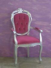 Poltrona/Capotavolo veneziana,foglia argento,velluto rosa capitonnè