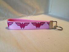 Pink Wonder Woman Inspired Key Fob/ Wristlet/ Key Chain with Designer Ribbon