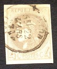timbre france, n°41Bd, 4c gris foncé bordeaux, TB, Obl, cote 600e signe Calves