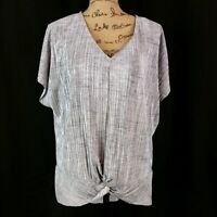 Dana Buchman Womens sz XL Top Gray Short Sleeve V Neck Twisted Knot Front