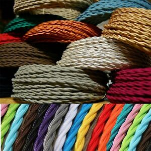 TWISTED BRAIDED ANTIQUE VINTAGE FABRIC LIGHTING CABLE WIRE 3 CORE 0.75MM