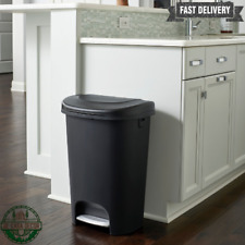 Trash Can 13 Gallon Slow Close Indoor No Smell Durable Plastic Step On Black