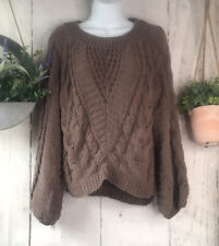 Express Taupe Chunky Knit Chenille Sweater Cropped Women's XS Balloon Sleeve