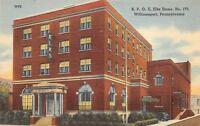 Williamsport Pennsylvania 1940s Linen Postcard BPOE Elks Home No. 173