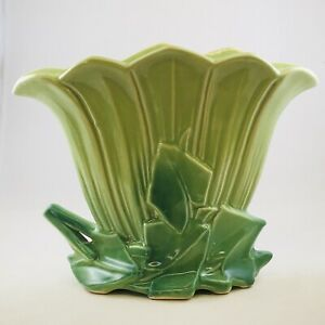 McCoy Pottery Fan Vase Two Tone Chartreuse and Green 8.25 Tall 1950s USA