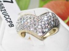 Yellow Gold Plated Cluster Emerald Costume Rings