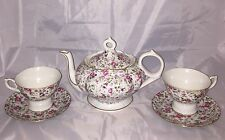 Lefton China Rose Chintz Musical Teapot And Musical Tea Cup & Saucers