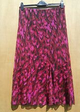 Size M/L  deep pink, red & black chiffon layer fit & flare skirt