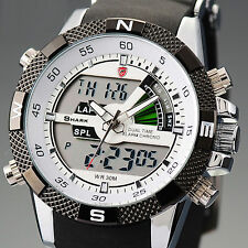 SHARK Mens LCD Digital Quartz Wrist Watch Stopwatch Date Sports Army Silicone UK